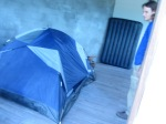 At Kieran's house. He sleeps in a tent :)