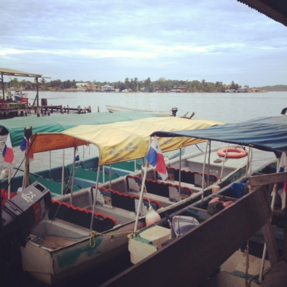 Water taxis in Bocas del Toro.