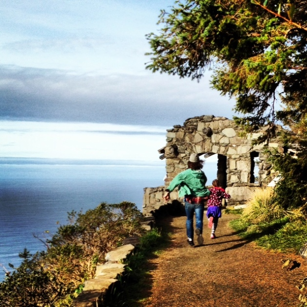 Two friends of mine racing to a lookout at Cape Perpetua. I'm not the only one who plays here :)